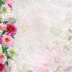 Border of flowers on vintage background