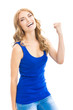 Happy gesturing young woman, isolated