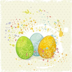 Easter eggs on artistic background