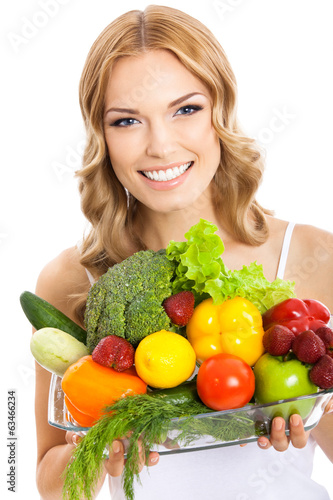 Young woman with vegetarian food, on white