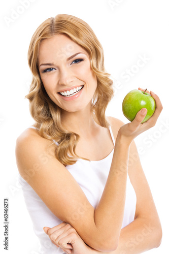 Woman with apple, on white