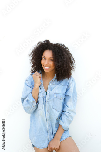Beautiful young african woman smiling