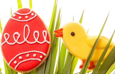easter egg and chick - gingerbread cookies