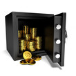 Opened safe with gold coins.