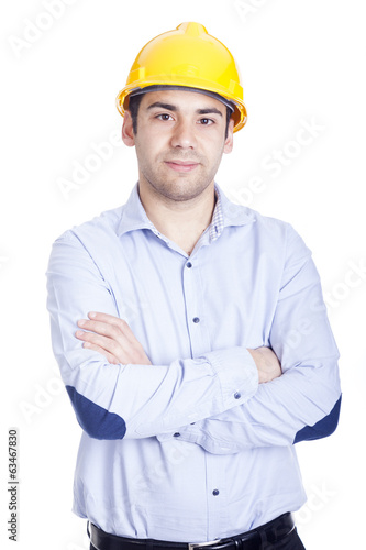 Portrait of a handsome engineer, isolated on white