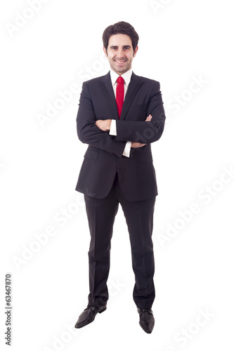 Full body portrait of happy business man, isolated on white