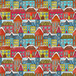 canvas print picture - Winter houses seamless pattern