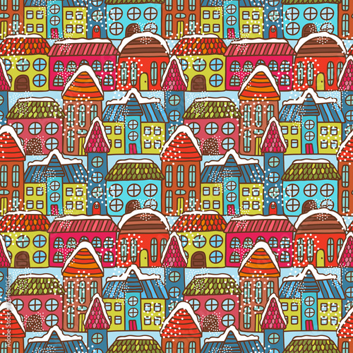 canvas print picture Winter houses seamless pattern