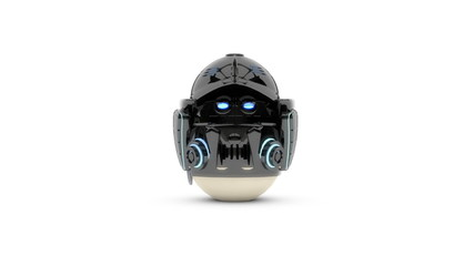 Egg in costume of robot - funny Easter greetings