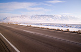 Lonesome Road Winter Freeze Utah Mountain Highway Salt Flats poster