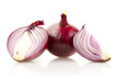 Red Onion with Half Isolated on White Background