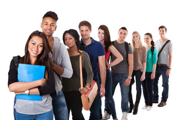 Portrait Of College Students Standing In A Line