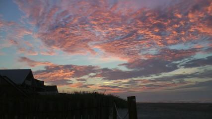 Pink sky beach dawn