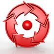Circular 5 arrows in red