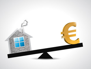 euro real estate balance industry illustration