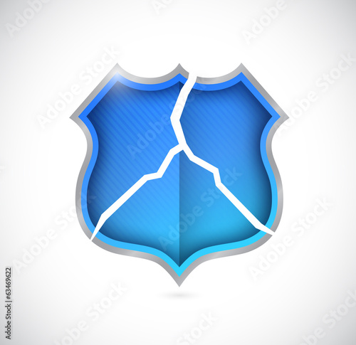 broken shield illustration design