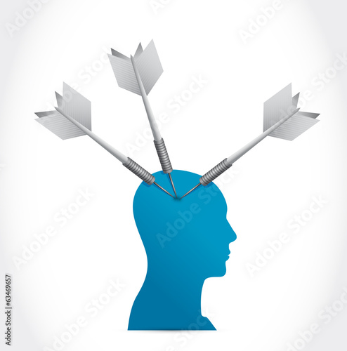 head and darts illustration design