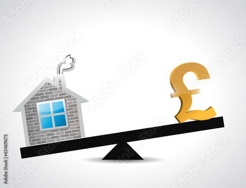 pound real estate balance industry illustration