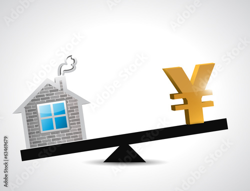 yen real estate balance industry illustration