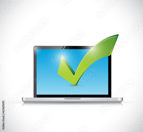 laptop and checkmark illustration design