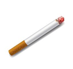 smoldering cigarette on a white background