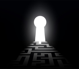 dark labyrinth with exit to the keyhole