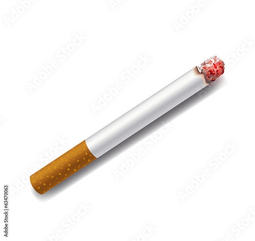 smoldering cigarette on a white background