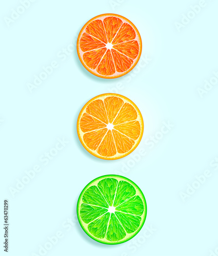 citrus fruit in the form of traffic lights