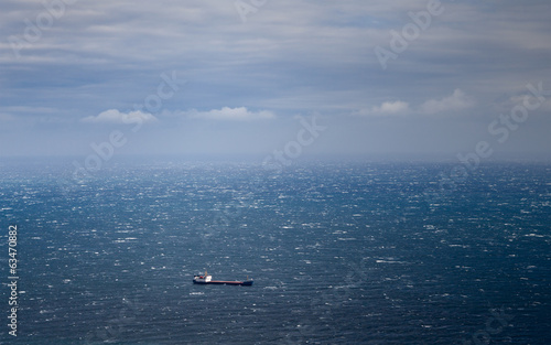 cargo ship in the ocean.