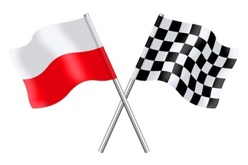 Flags : Poland and checkerboard