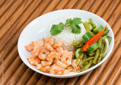 Cuban Cuisine Shrimp Plate or Dish over wooden surface