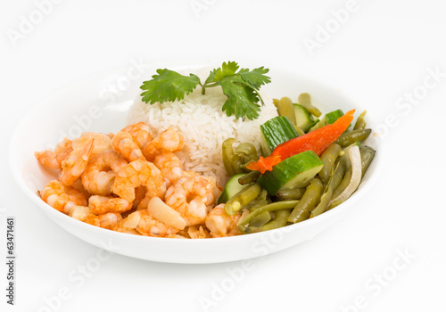 Cuban Cuisine Style Shrimp Plate or Dish