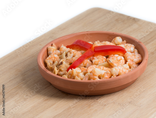 Shrimp Plate or Dish over Cutting Board