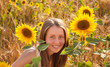 Girl in the sunflower field