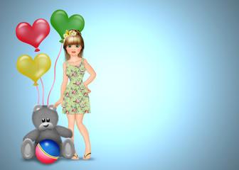 мишка и кукла поздравяют