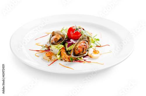 seafood salad on white background