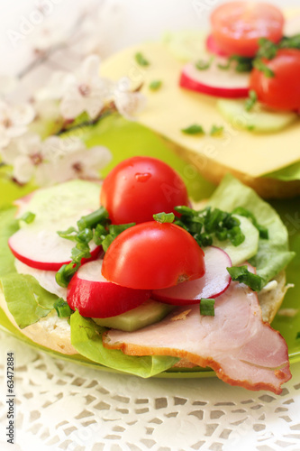 spring healthy sandwich with vegetable and smoked ham