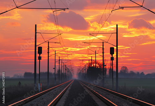 canvas print picture Railway, raolroad