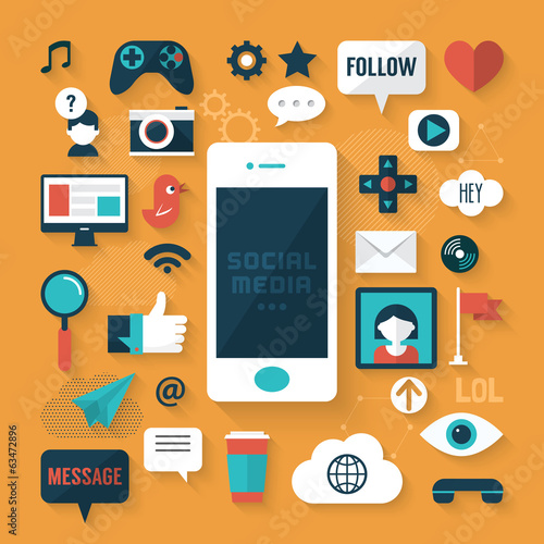 Flat modern design vector of social media icons
