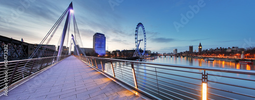 canvas print picture London panorama at night