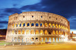 canvas print picture - Colosseum at dusk in Rome, Italy