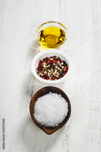 Salt, pepper and olive oil