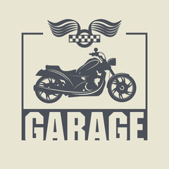 Vintage Motorcycle Garage label, vector