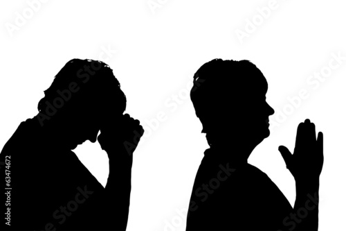 Vector silhouettes woman.