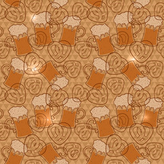 Beer mugs and pretzels seamless pattern with flashes on a