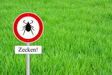 Zecken Warnung Schild