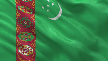 Flag of Turkmenistan waving in the wind - seamless loop