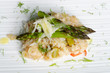 Vegetarian Risotto with asparagus, vegetable and Parmesan