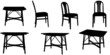 Vector silhouettes of chairs and a table. - 63475446
