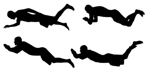 Vector silhouette of a people who swim.